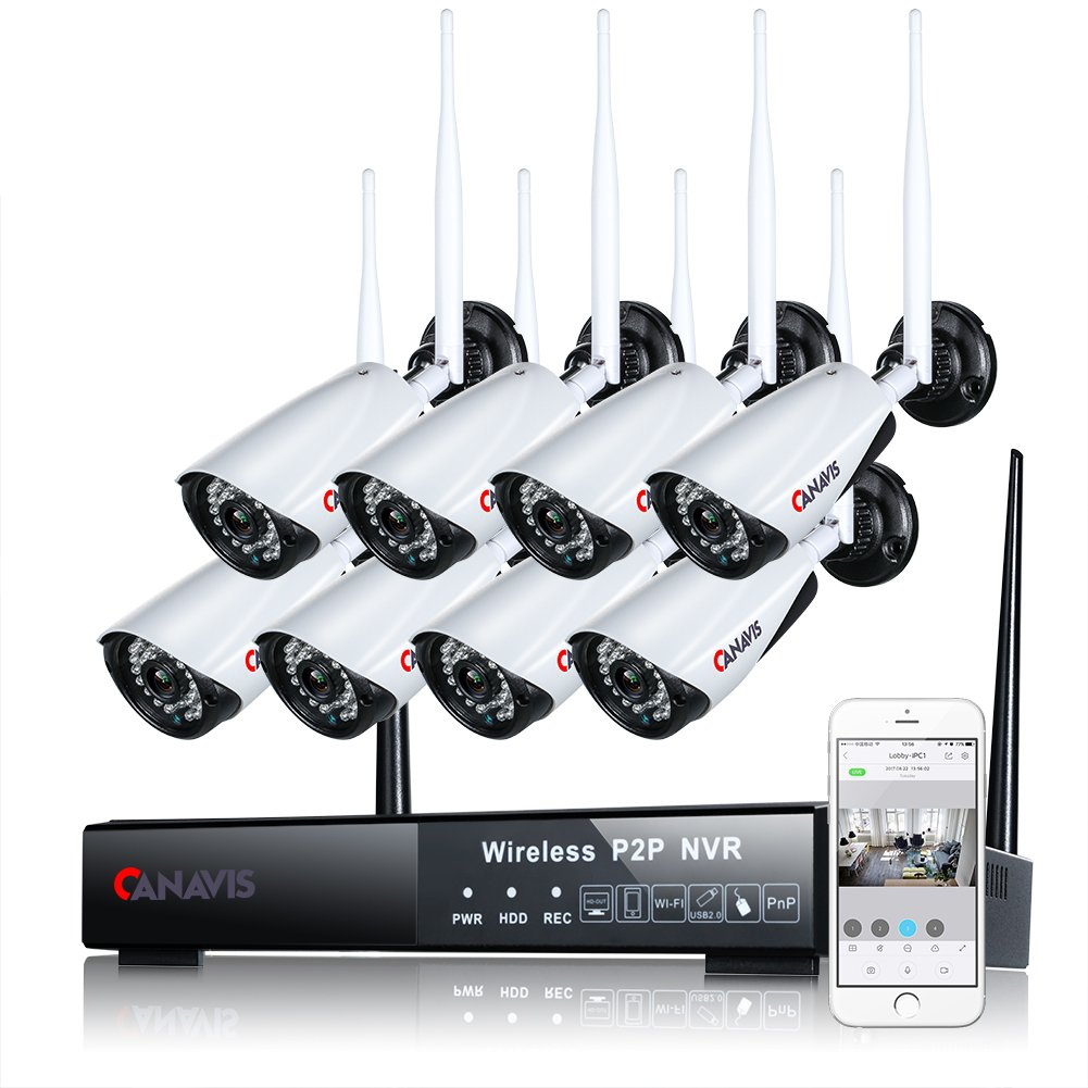 CANAVIS 8 Channel Wireless Camera System NVR Video Recorder Surveillance System 960P Wifi Bullet Camera Night Vision, No HDD included by CANAVIS
