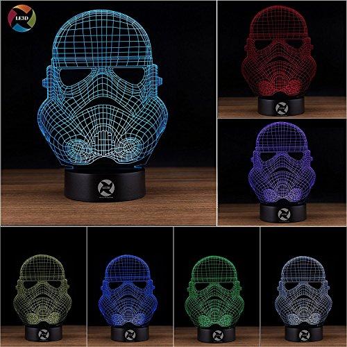 3D Optical Illusion Night Light - 7 LED Color Changing Lamp - Cool Soft Light Safe For Kids - Solution For Nightmares - Star Wars Storm Trooper