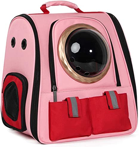 XHHWZB Cat out Bag Dog Cage Space Bag Pet Cabin Cat Bag Cat Backpack Dog Bag out Box Mochila portátil (Color : Pink-B): Amazon.es: Deportes y aire libre