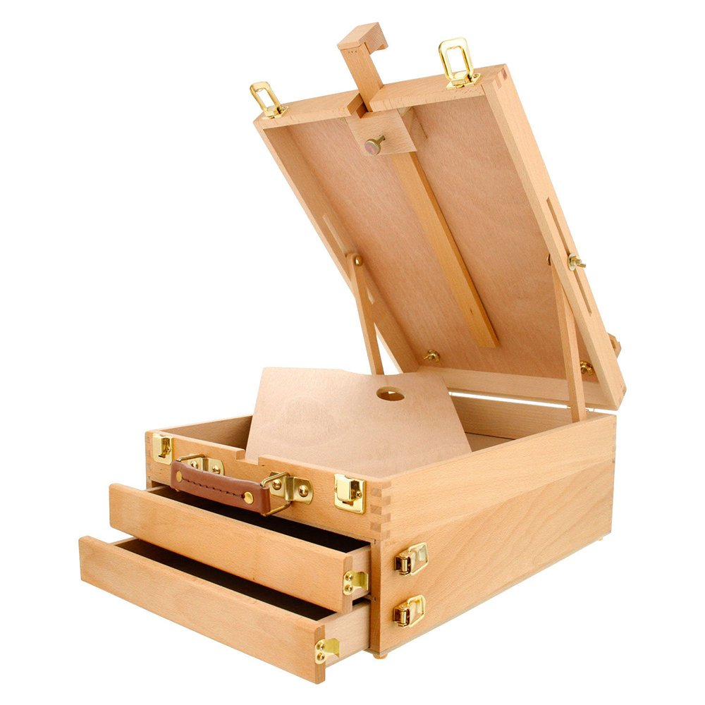 Sketch Box Portable Beech Wood Drawing and Painting Sketch Box with Easel 3 Layers Storage Compartment Drawers (14.72' x 10.63' x 5.9') Wood Color Raercodia
