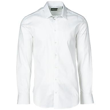 e00628656d0 Emporio Armani Chemise à Manches Longues Homme Slim fit Blanc ...