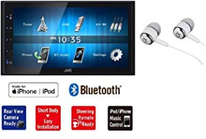 "JVC KW-M24BT 6.8"" Double-Din Built-in Bluetooth USB MP3 iPod iPhone AM/FM Radio Touchscreen Blue Key Illumination Dual Phone Connection Digital Media Car Stereo Receiver/Free ALPHASONIK Earbuds"