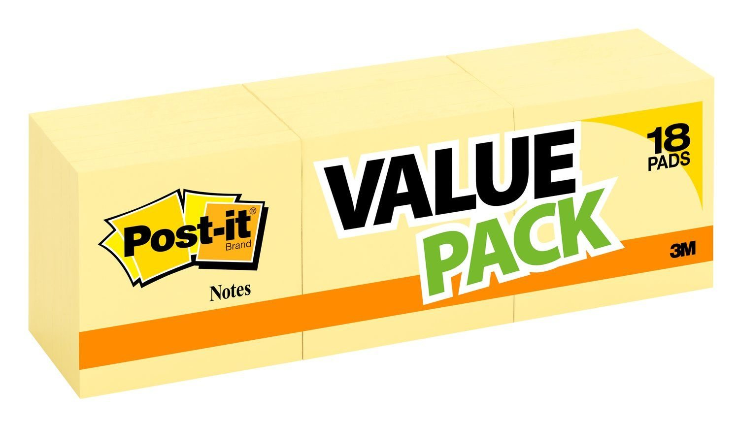 Post-it Notes,  America's #1 Favorite Sticky Note, 3 in x 3 in, Canary Yellow, 14 Pads/Pack + 4 Free Pads, 18 Pads Total, 100 Sheets/Pad - 654-14+4YW by Post-it