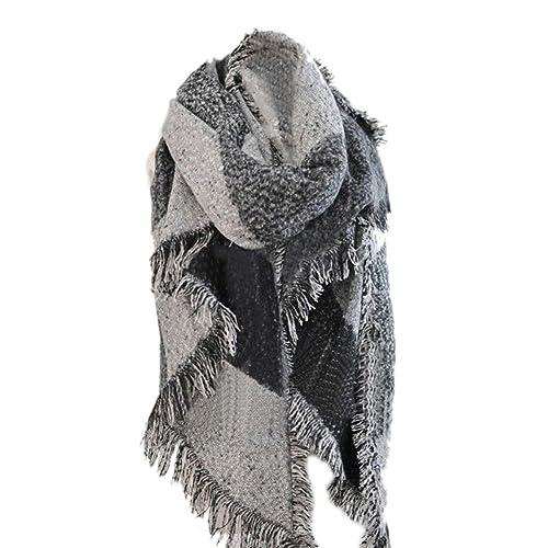 Hrph Nueva manera de las mujeres de la tela escocesa de la bufanda caliente Mujer con flecos de lana de cachemira Mantón