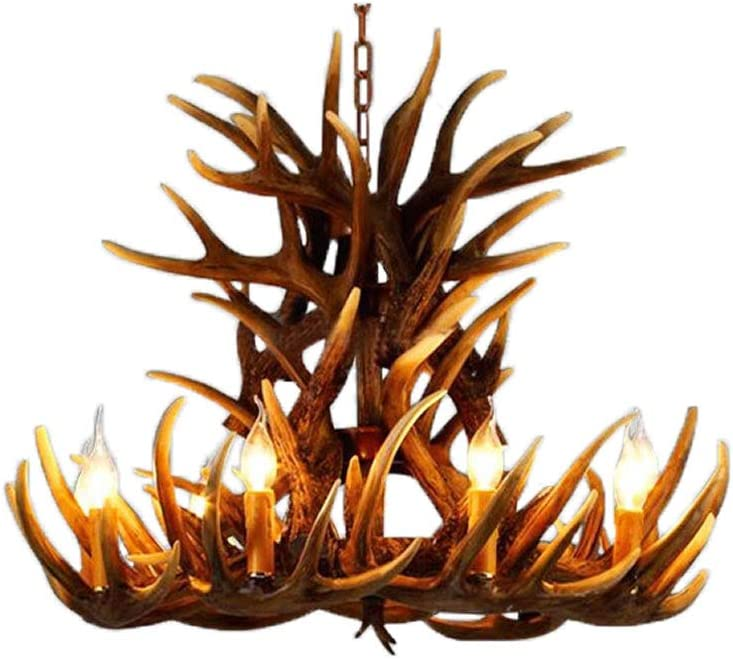 6+3 Head 9+3 Head 9+6 Head 9+9 Head Candle Antler Chandelier American Retro Resin Deer Horn Lamps Home Decoration Lighting E12 Warm White UL Listed (6+3Heads)