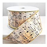 "Wired Plush Music Notes Off White Christmas Ribbon 2 1/2"" 10 Yards"
