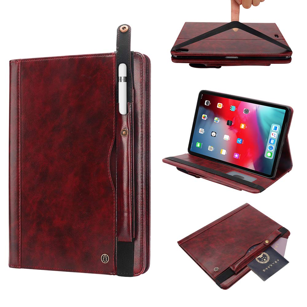 iPad Pro 12.9 3rd Gen Cover, TechCode Ultra Thin Protective Case Cover with Pencil Sleeve Luxury PU Leather Smart Cover Folio Book Style Stand Cover for 3rd Generation iPad Pro 12.9 inch 2018,Wine Red