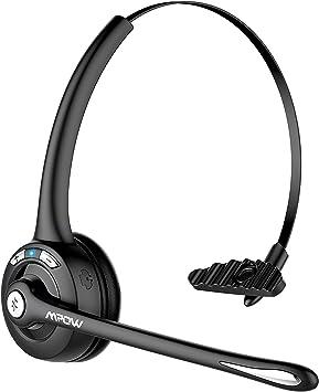 Auriculares Bluetooth de Diadema Inalámbrico con Micrófono, 13 Horas de Conversación de Calidad, Mpow Auriculares Manos Libres con Cancelación de Ruido para Telefono Fijo Skype VoIP Recepcionista: Amazon.es: Electrónica