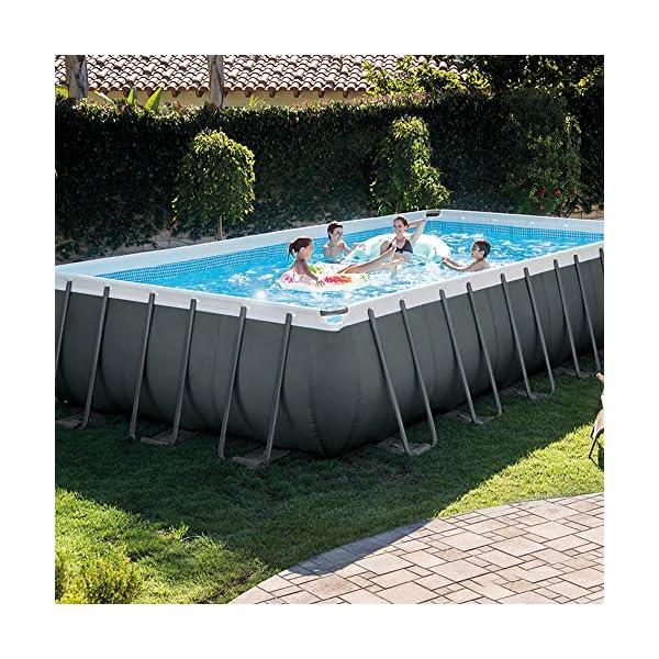 Intex 26368 Piscina Rettangolare, con Pompa a Sabbia Combo, Scaletta Doppia, Capacità d'Acqua 31.805 L al 90%, Grigio… 2 spesavip