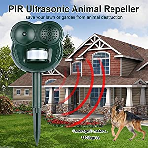Repeller Scarer Chase Solar PIR Motion Activated Animal Dog Cat Bird Raccoons r