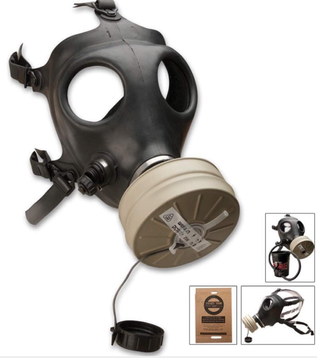 Israeli Rubber Respirator Mask NBC Protection For Industrial Use, Chemical Handling, Painting, Welding, Prepping with Drinking Straw/Tube Shalon