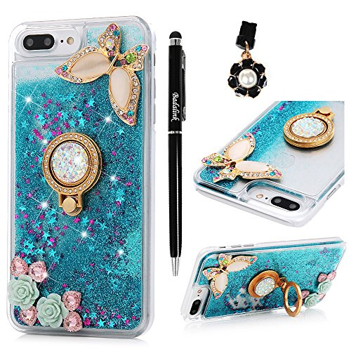 reputable site f4110 d54bc iPhone 7 Plus Case, iPhone 8 Plus Case - Liquid Glitter Bling Quicksand  Case Decorated Diamonds Butterfly Shockproof PC Cover Cute Creative Design  ...