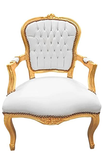Amazon Com Luxe Furniture Baroque Armchair White Leather On Gold