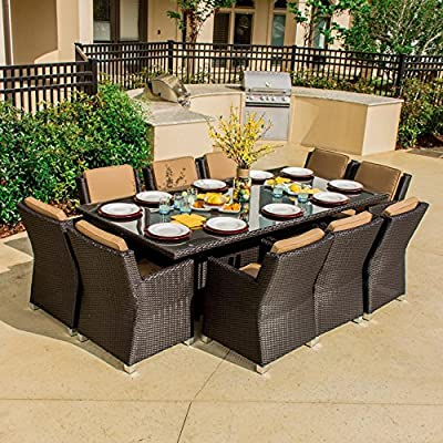 Lakeview Outdoor Designs Avery Island 10 Person Resin Wicker Patio Dining Set, Espresso - Clean lines and extra deep seating invite you to dine in style Ideal for dining and entertaining larger groups of people All-weather resin wicker endures from season to season - patio-furniture, dining-sets-patio-funiture, patio - 61IdAhUY6iL. SS400  -
