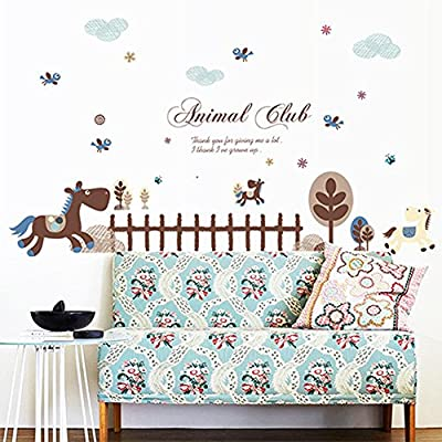 Wallpark Cute Horse Animals Fence Tree Removable Wall Sticker Decal, Children Kids Baby Home Room Nursery DIY Decorative Adhesive Art Wall Mural
