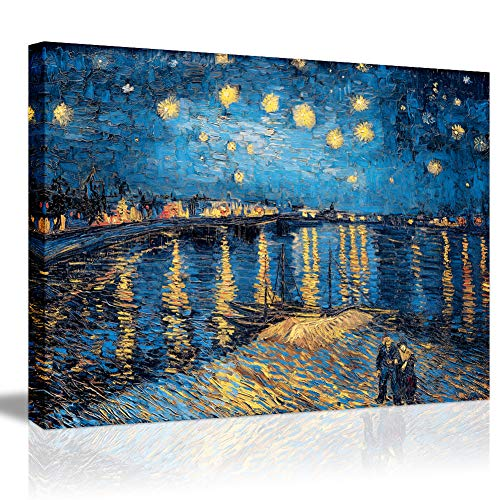 (Starry Night Over The Rhone-Famous Oil Painting Artworks by Van Gogh Reproduction Poetry Giclee Canvas Prints Elegant Blue Wall Art Painting Decorative Gallery Wrapped Framed Wall)