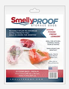 "Smelly Proof Double Track Zipper Reusable Storage Bag, Clear, Medium 6.5"" x 7.5"", 10 Pack"