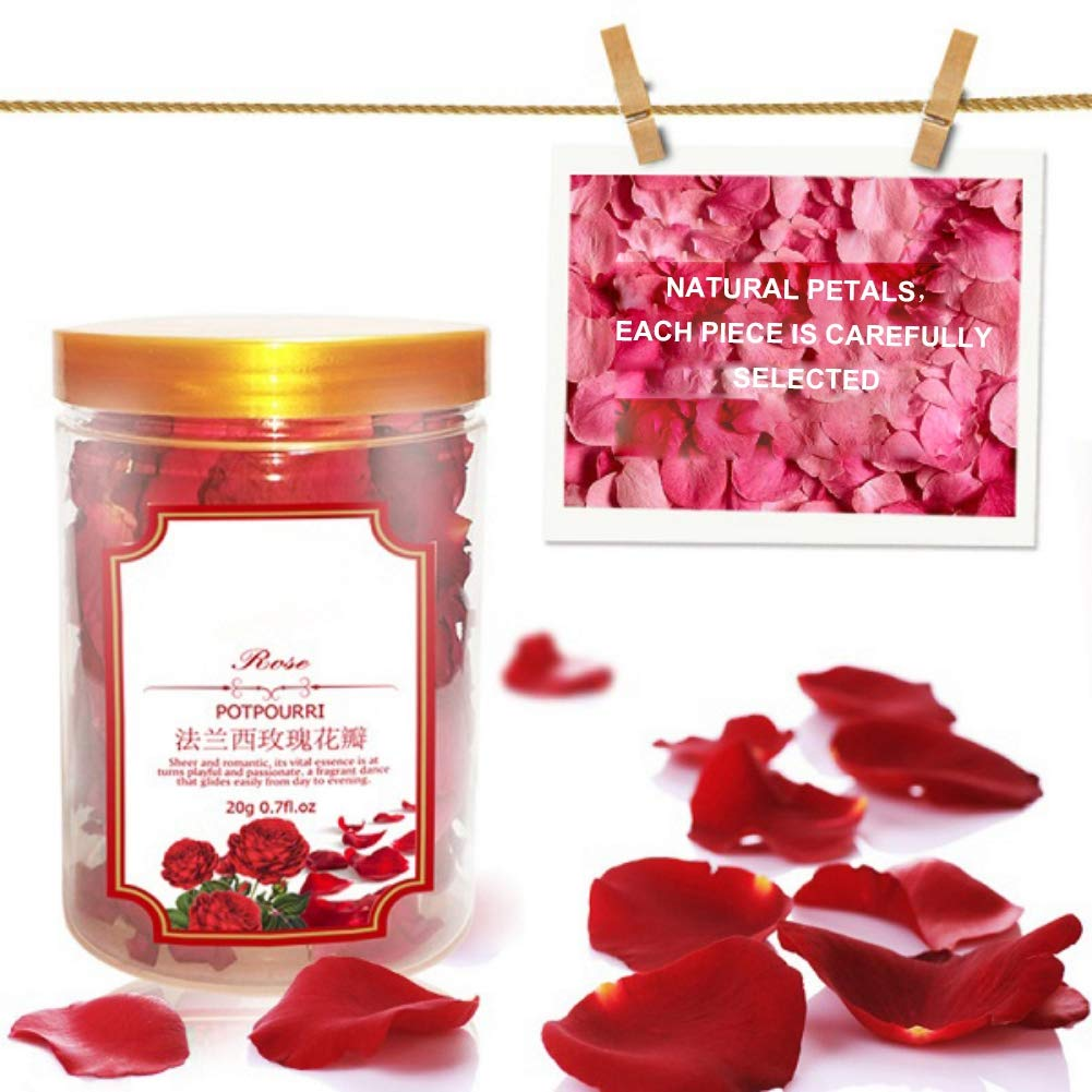 Symeas 20g Christmas Bath Rose Red Petal Roses Dried Rose Petals Real Rose Flower Petals for Bath Foot Bath Christmas Gift