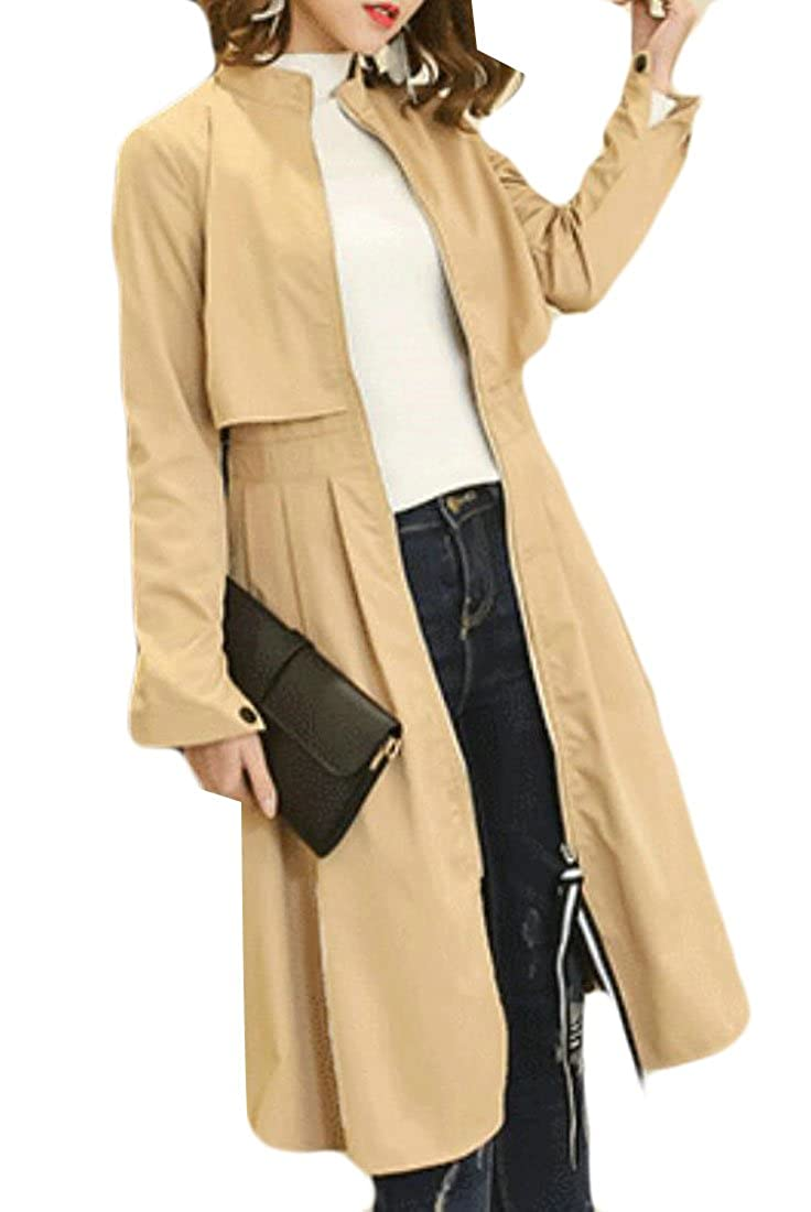 Hurrg Women Stylish Pleated Windproof Stand Collar Swing Long Jackets Coats
