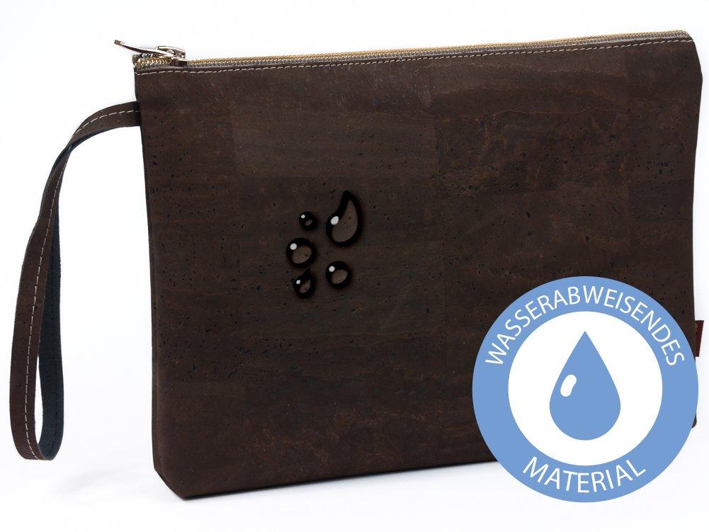 SIMARU Elegante Bolso de Mano hecho de moderno corcho / piel de corcho, bolsa porta-documentos con cremallera de alta calidad, monedero, neceser, cartera ...