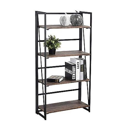 Coavas Folding Bookshelf Rack 4 Tiers Bookcase Home Office Shelf Storage No Assembly