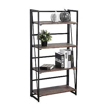 Coavas Folding Bookshelf Rack 4 Tiers Bookcase Home Office Shelf Storage  Rack No Assembly