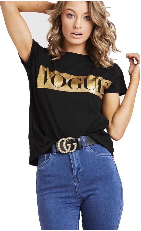 New Ladies Vogue Slogan Print Womens Casual Short Sleeve T Shirt Top 8-26 uk