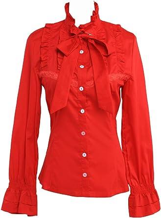 an*tai*na* Roja Algodón Volantes Encaje Stand-Up Collar Bow Tie Lolita Camisa Blusa de Mujer: Amazon.es: Ropa y accesorios