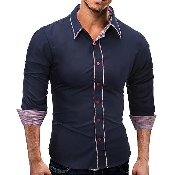 Naturazy Camisas para Hombres Moda Blusa Informal con Camisa Hipster Hombre OtoñAl Bordado Plaid OtoñO En