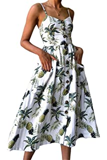 554817afc4 Miss Floral® Women s Bardot Button Through A-Line Midi Strappy Dress 23  Style Size