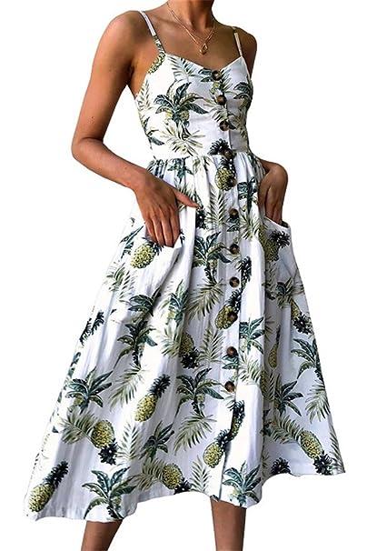 5893b2b44dc Miss Floral® Women s Bardot Button Through A-Line Midi Strappy Dress 23  Style Size 6-20  Amazon.co.uk  Clothing