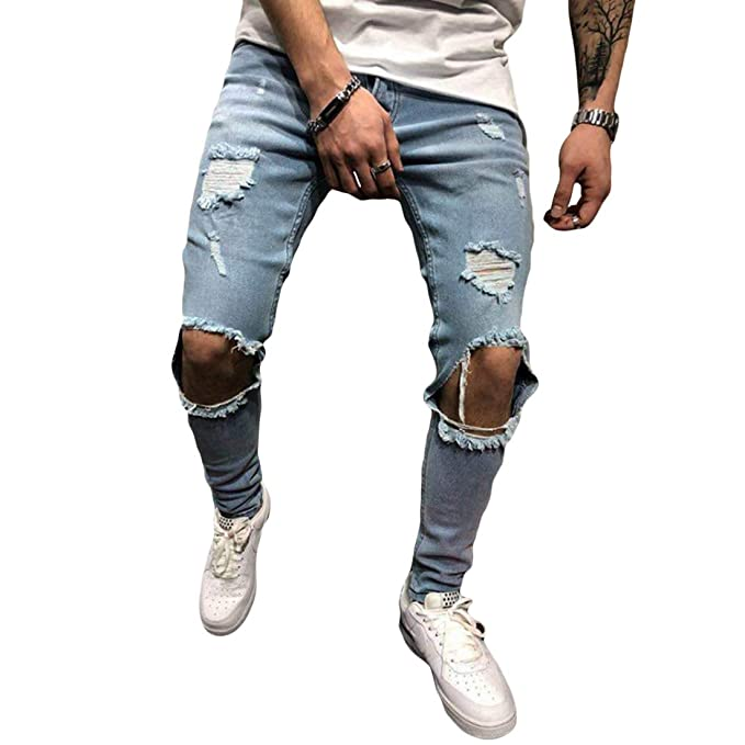Huicai Pantalones de Hombre Slim fit Pantalones Pitillo ...