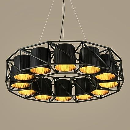 Amazon alus industrial style iron chandelier iron lamp body alus industrial style iron chandelier iron lamp body fabric lampshade e27 12 round chandelier aloadofball Images