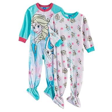 185cfa74a Amazon.com  Disney Frozen Elsa and Olaf Fleece Footed Pajama Sleeper ...