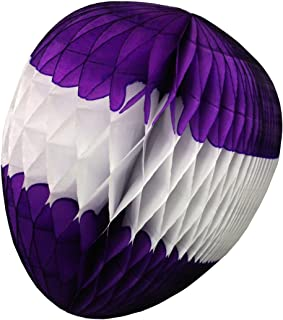product image for 3-pack 12 Inch Honeycomb Tissue Paper Easter Egg Decorations (Purple/White)