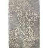 Bashian Greenwich collection HG314 hand tufted wool  amp; viscose area rug 3.9X5.9 Taupe
