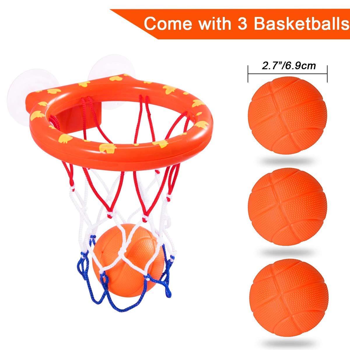 Jouet de Bain Basket et Cerceau Jeu de Bain cr/éatif pour Enfants avec ventouses 1 Panier, 3 balles BUYGOO Jouet de Bain b/éb/é Rigolo Filles 1 /à 6 Ans
