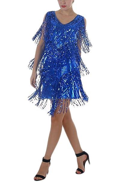 BOLAWOO Vestidos Mujer Vestidos De Fiesta Elegantes Cortos De Noche Vestido Coctel Vintage Flash Lentejuelas con