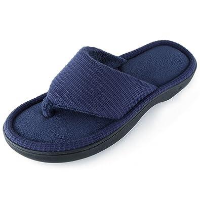 6e6d06880a9 Wishcotton Men s Classic Memory Foam Spa Thong House Shoes Fluffy Flip Flop  Slippers (S