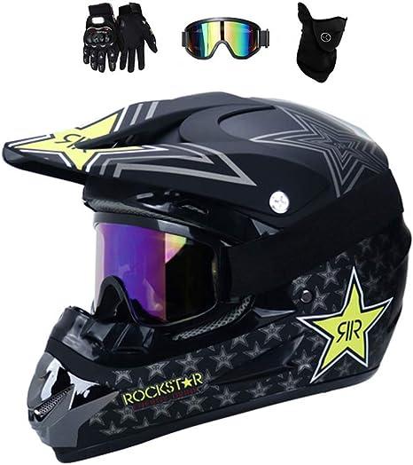 Casco Motocross in fibra di carbonio con occhiali Guanti Casco moto Casco integrale Moto Off Road Touring Racing Helme DOT