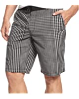 ALFANI FLAT FRONT CHECKED SHORTS BLACK plaid 38