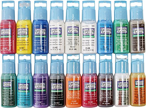 Medium Stained Glass - Plaid Gallery Glass Window Color Paint Set (2-Ounce), PROMOGGI (18-Colors)
