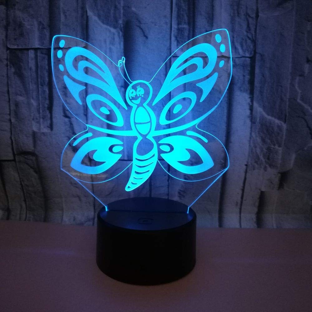 YWYU Creative 3D Night Light LED Illusion Lamp 7 Colors Gradually Changing Butterfly Light USB Touch Switch Decorative Bedside Lamp Remote Control for Boys Girls Toys Gifts