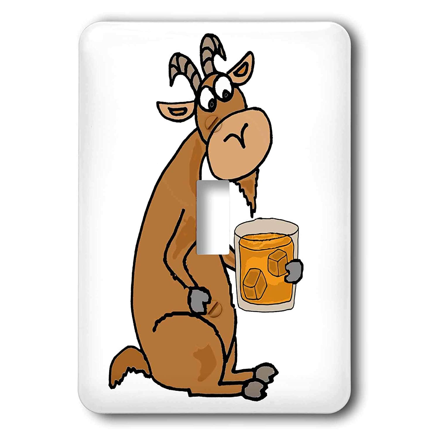 lsp/_313450/_6 3dRose All Smiles Art 2 plug outlet cover Drinking Funny Cute Old Goat Drinking Scotch Whiskey Old Age Humor