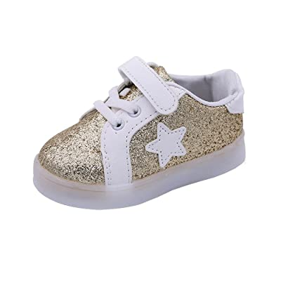 Auwer Baby Fashion Star Sneaker LED Luminous Child Toddler Casual Colorful Light Shoes