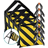 Neewer 4-Pack Heavy Duty Sandbag (Yellow/Black) for Photo Studio Light Stands Boom Arms with 6-Pack Muslin Backdrop Spring Clamps Clips (Empty Sandbag)