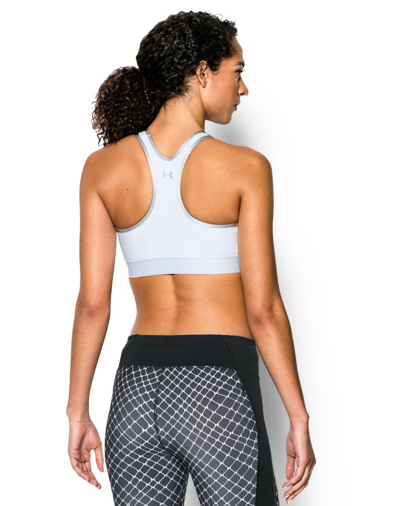 Under Armour Women's Armour Mid Sports Bra, White/Aluminum, Large by Under Armour (Image #3)