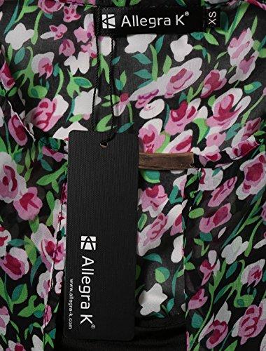 sourcingmap® Femme Fleurs mousseline chemisier couches avant croisé