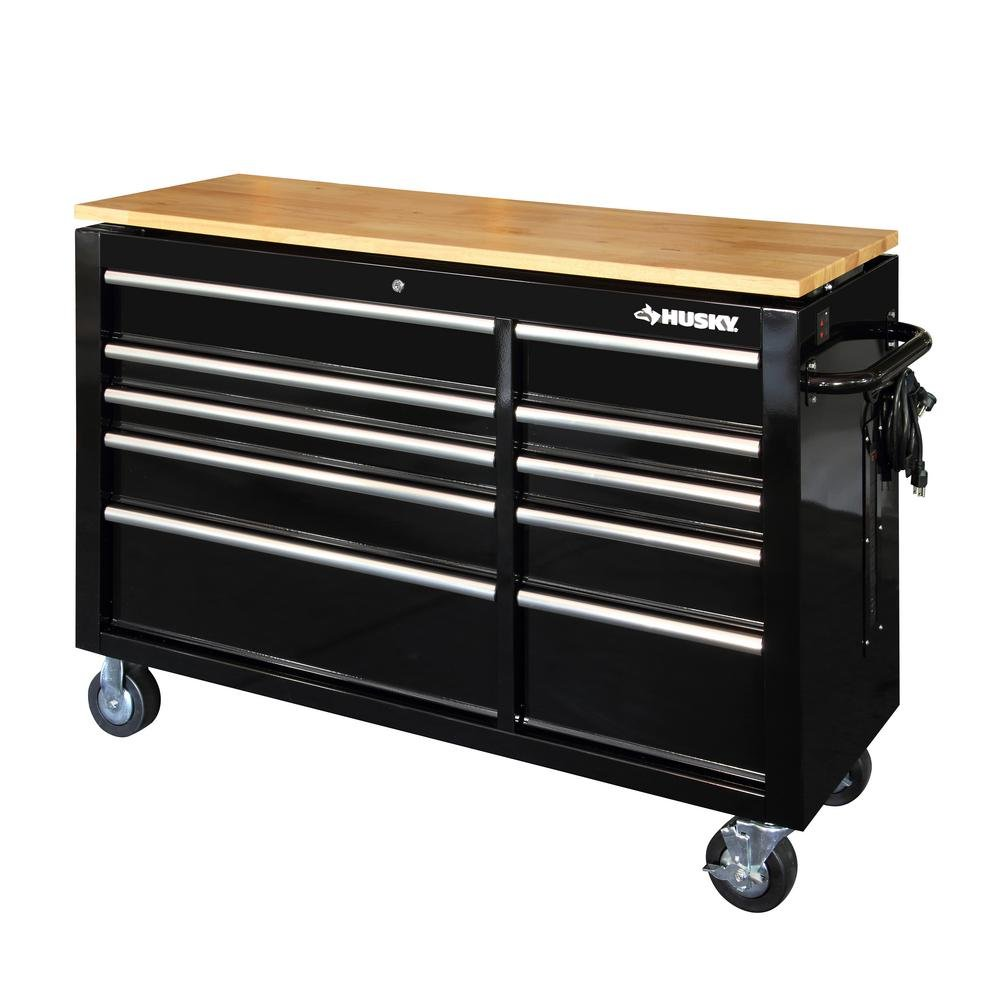 Husky 52 in. 10-Drawer Mobile Workbench with Power Adjustable-Height Top