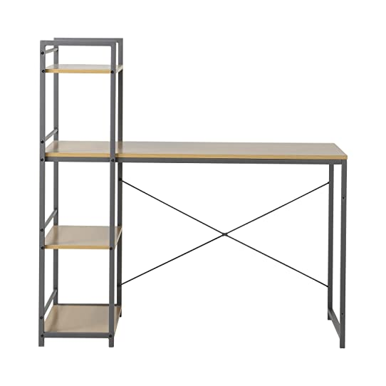 Homestar Furniture Desk With Built In 4 Shelf Bookcase, Natural Wood